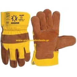 Γάντια δερματοπάνινα mafepe κίτρινα